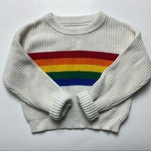 Justice Size 7 Rainbow White Knit Crewneck Sweater